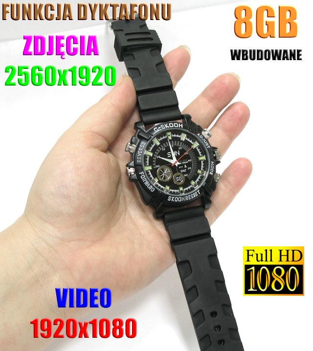 Spy Szpiegowski Sportowy Zegarek FULL HD na Rękę 8GB) Nagrywający Obraz/Dźwięk + Dyktafon + 4 Diody IR