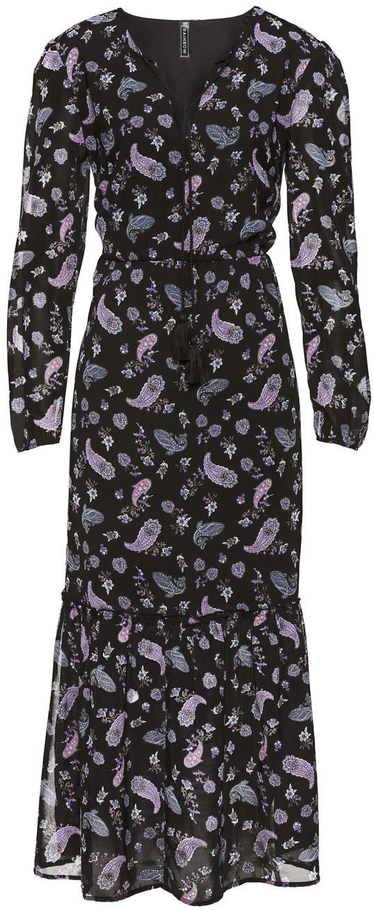 Bonprix Długa sukienka boho czarny z nadrukiem
