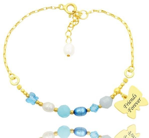 MAK-Biżuteria 1281 bransoletka z grawerem srebrna 925 pozłacana błękitna z motylkiem