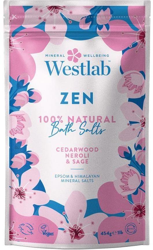 Westlab Zen Bath Salts wyciszająca sól do kąpieli Olejek Cedrowy & Neroli & Szałwia 454g