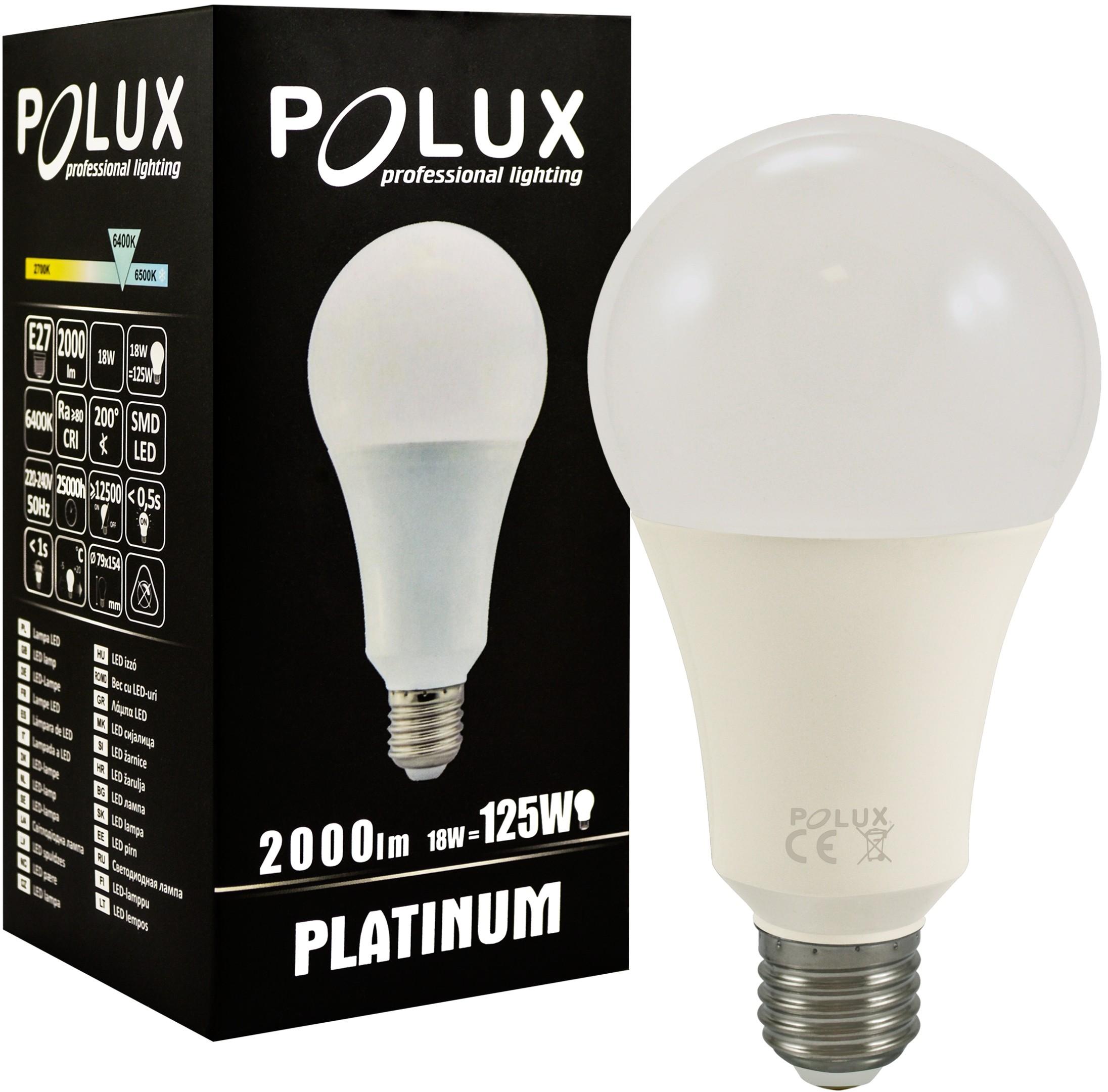 abd78183eb4 Polux Żarówka LED A80 E27 2000lm 6400K 307309