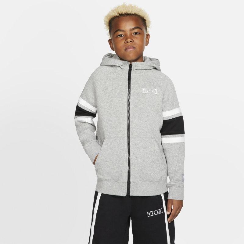 Nike Bluza z kapturem i zamkiem na całej długości dla dużych dzieci (chłopców) Air - Szary BV3590-050