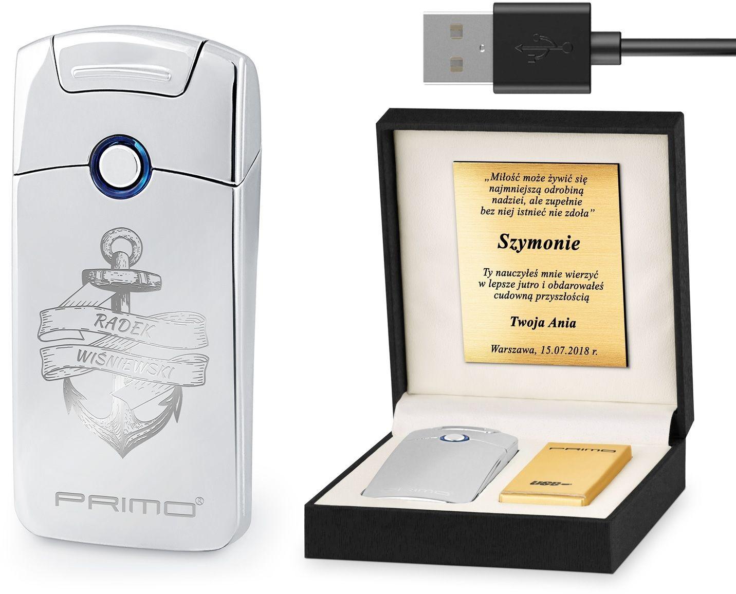 Murrano Zapalniczka Plazmowa USB z GRAWEREM KOTWICA ZP1-BB-007