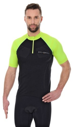 Brubeck Koszulka rowerowa krótki rękaw z suwakiem Unisex SS12390 Czarny/Neonowy