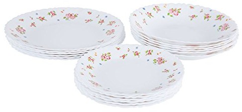 Dajar dajar Candice serwis stołowy 18-częściowy. arcopal szkło, białe, czerwony, 31,3 x 16,1 x 29,7 cm, jednostek 33308