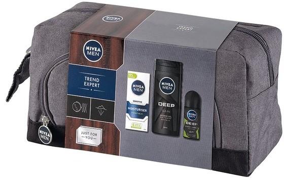 Nivea Men Trend Expert zestaw prezentowy żel pod prysznic 250ml Deep+dezodorant roll-on Deep 50ml+krem 75ml)