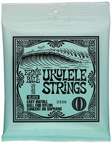 Ernie Ball Concert/sopran nylonowe końcówki kulowe struny ukulele czarne P02326