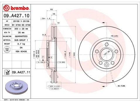 top BREMBO 09.A427.11