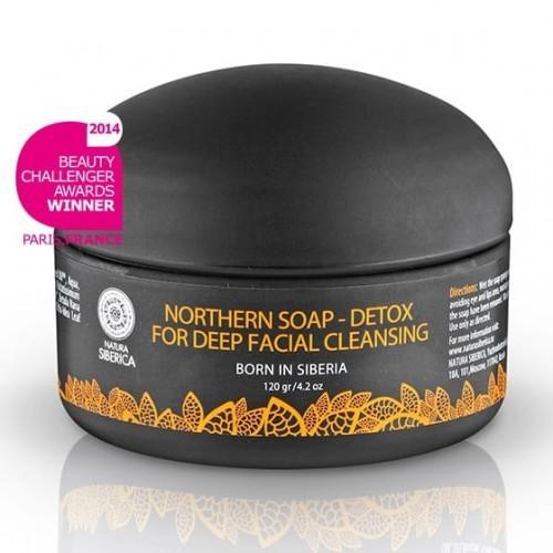 Natura Siberica Czarne mydło z węglem aktywnym do oczyszczania twarzy - Północny Detox -