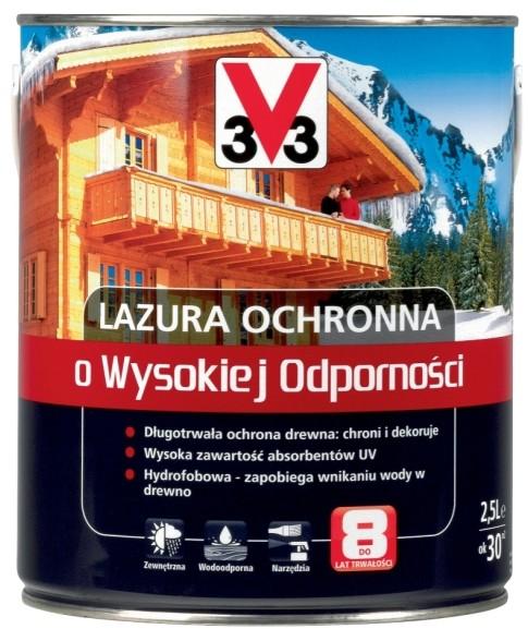V33 Lazura ochronna o wysokiej odporno?ci sosna skandynawska 2 5 l