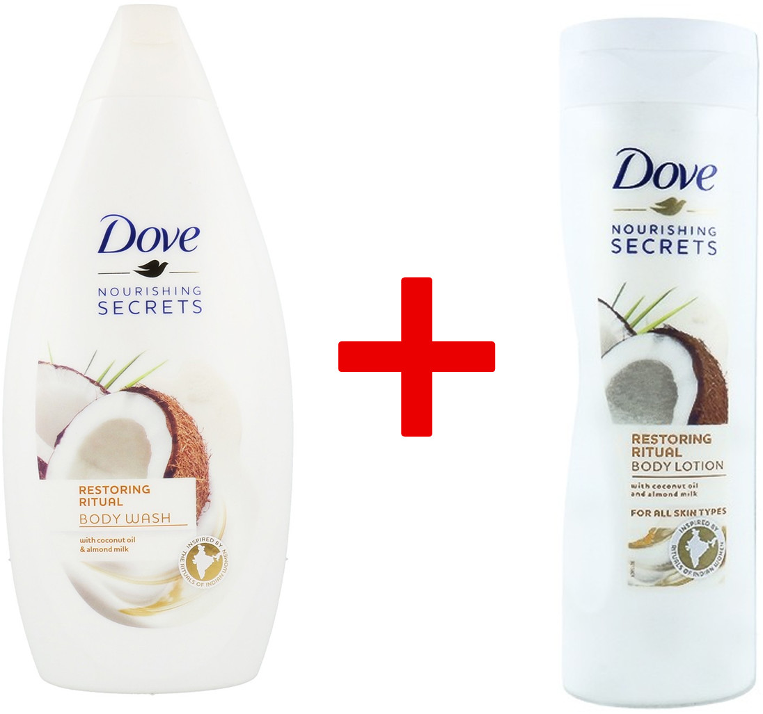 Dove 1+1 Body Wash Żel Pod Prysznic Restoring Ritual With Coconut Oil & Almond Milk 500ml + Balsam Do Ciała Restoring Ritual Cream And Coconut Oil 250ml