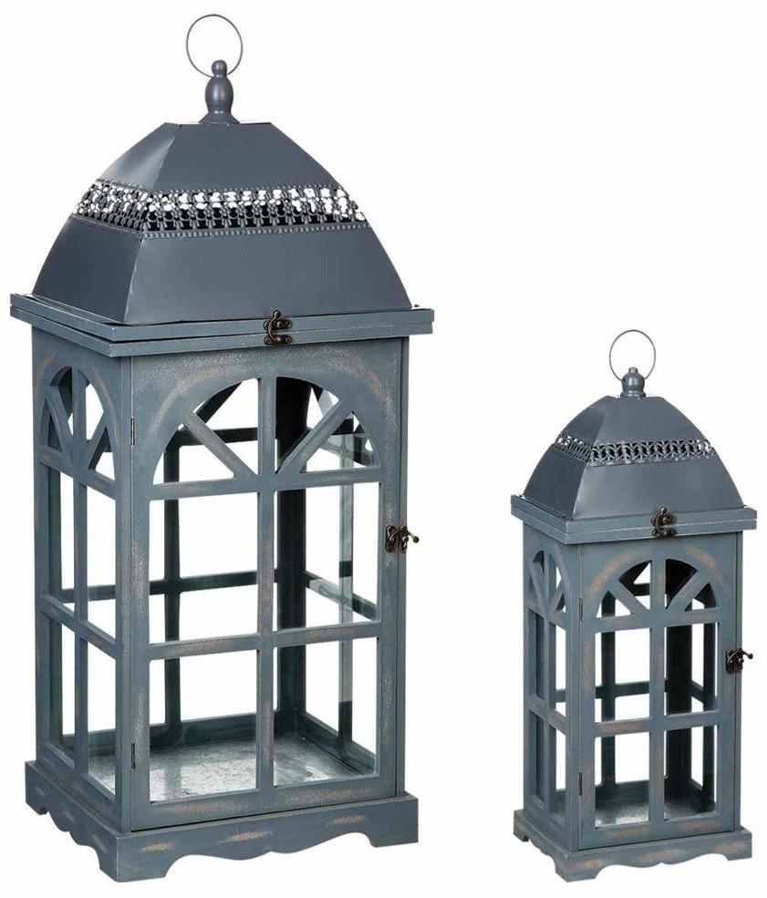 Home Styling Collection Dwa drewniane lampiony LATARNIA latarenka B00SL3MFTM