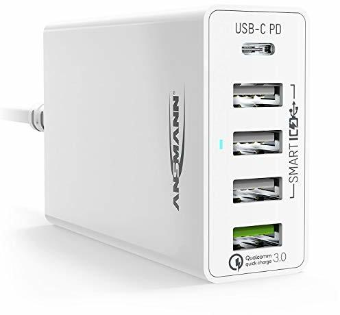 Ansmann 5-portowa ładowarka USB 60 W USB-C Power Delivery 30 W & Quick Charge 3.0 ładowarka z inteligentnym sterowaniem ładowania do telefonów komórkowych, smartfonów, tabletów, GoPro, Raspberry Pi,