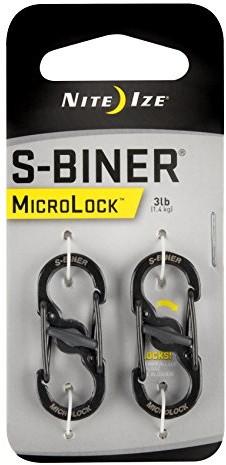 Nite-ize NiteIze podwójny karabińczyk ze stali nierdzewnej S-Biner MicroLock (2 sztuki), czarny 9001233