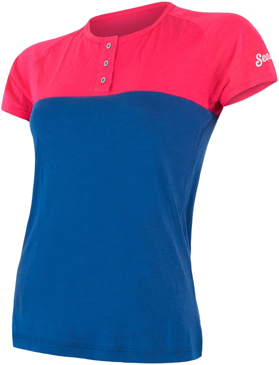 Sensor t shirt damski z guzikami Merino Air PT magenta niebieski L