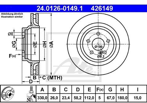 ATE TARCZA HAM 24.0126-0149.1 MERCEDES C216 COUPE CL 600 06-  24.0126-0149.1