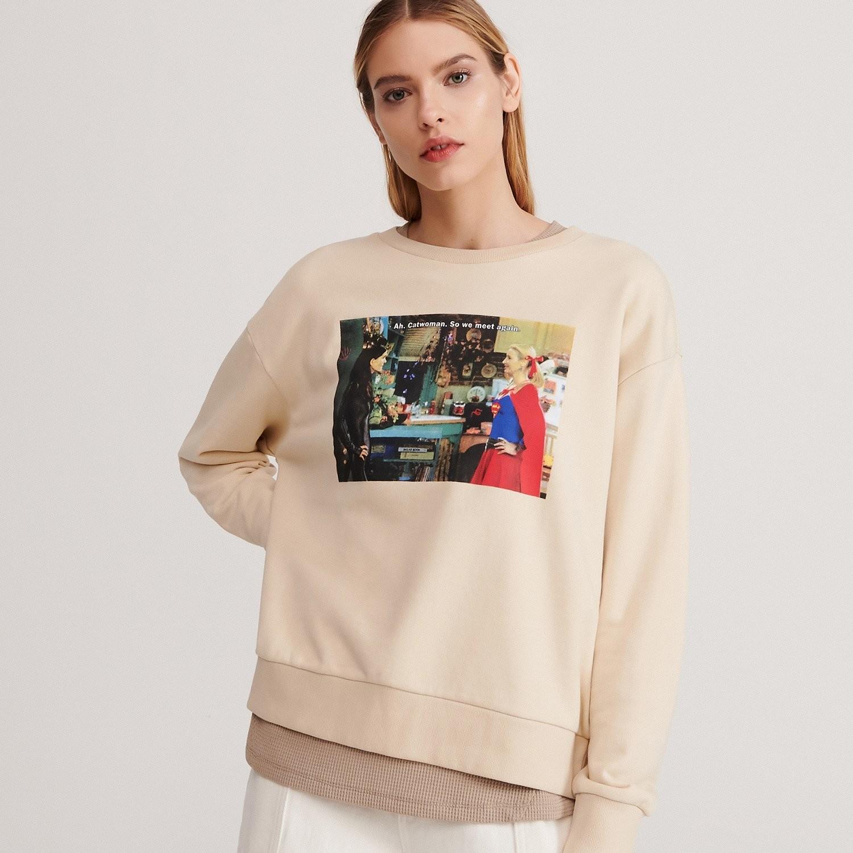 Reserved Bluza z nadrukiem Friends - Kremowy
