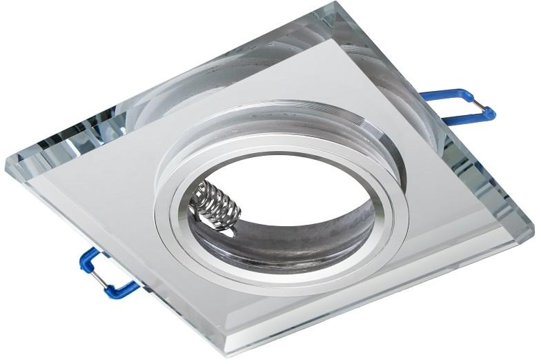 Eko-Light Oczko sufitowe szklane KWADRATOWE Kolor SREBRNY EKOS270