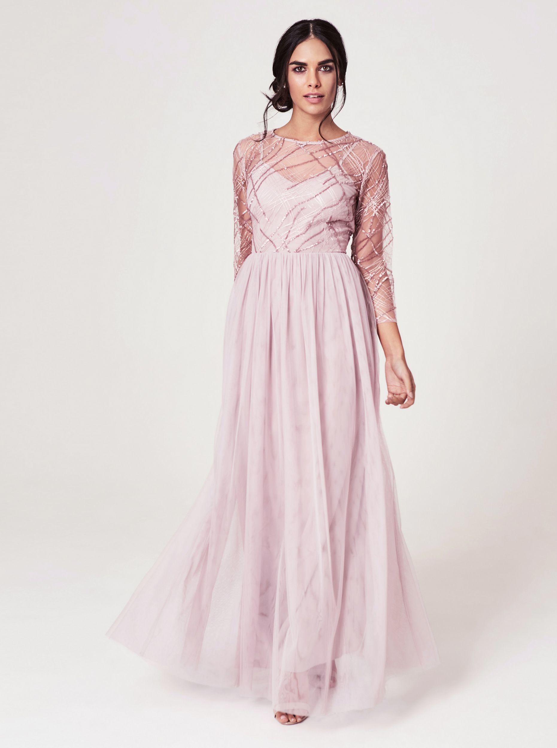 Little Mistress różowy maxi sukienka z przezroczystymi rękawami - XL Z_7100023640467