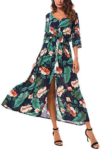 6a6a876d41 Boho kormei damskie kwiaty maxi sukienka 3 4 Arm linia A