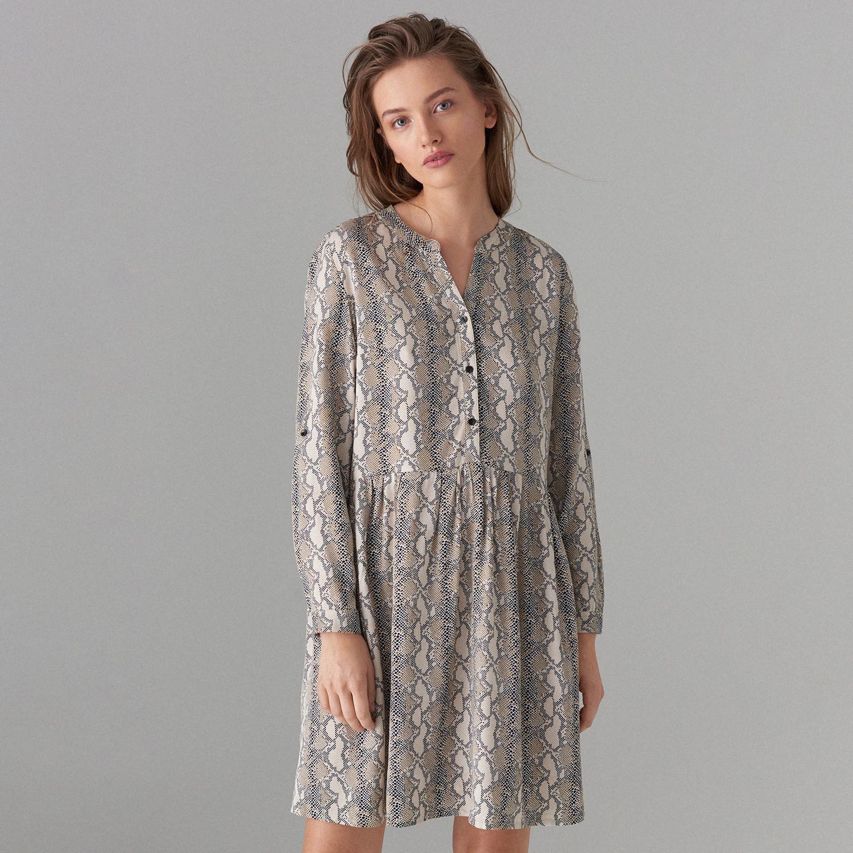 afb382d821 MOHITO Sukienka z wężowym wzorem - Beżowy
