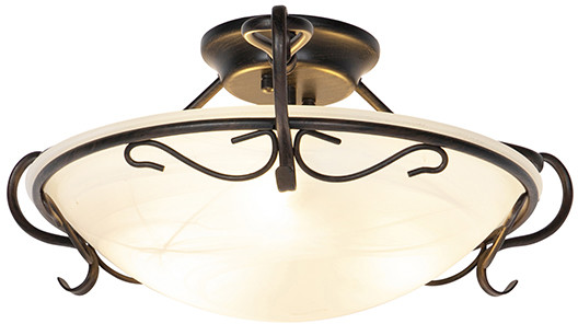 Honsel Klasyczna lampa sufitowa brązowa z opalowym szkłem - Unico 99198