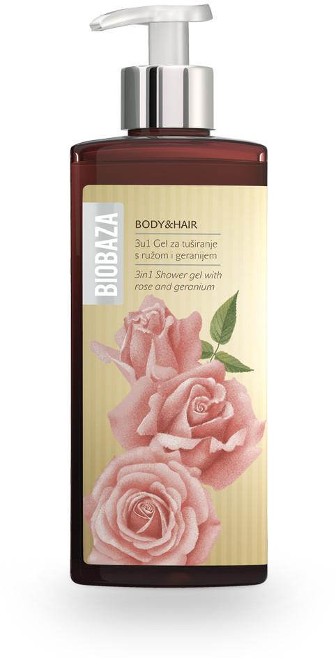 Biobaza BIOBAZA BODY & HAIR 3W1 żel pod prysznic z różą i pelargonią 400ml