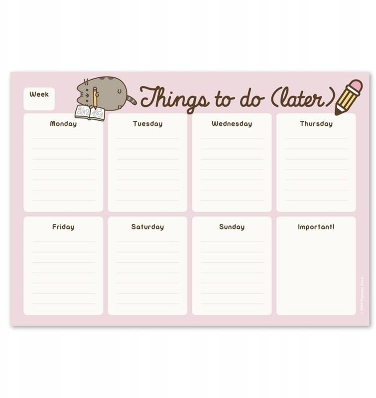 Pusheen - Planner tygodniowy na biurko z kolekcji