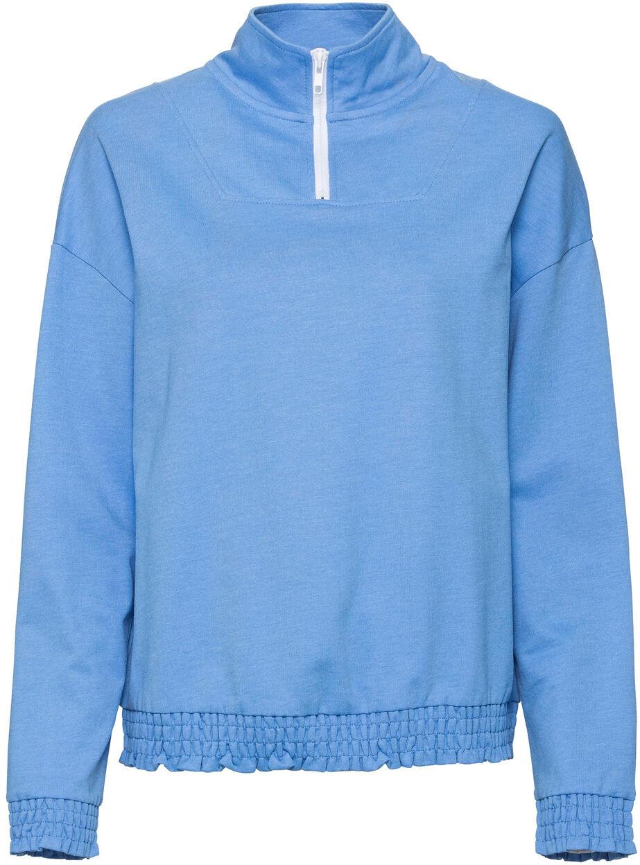 Bonprix Bluza z zamkiem niebiesko - biały