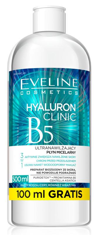 Eveline HYALURON CLINIC B5 - Ultranawilżający płyn micelarny 3w1 EVECUM3W