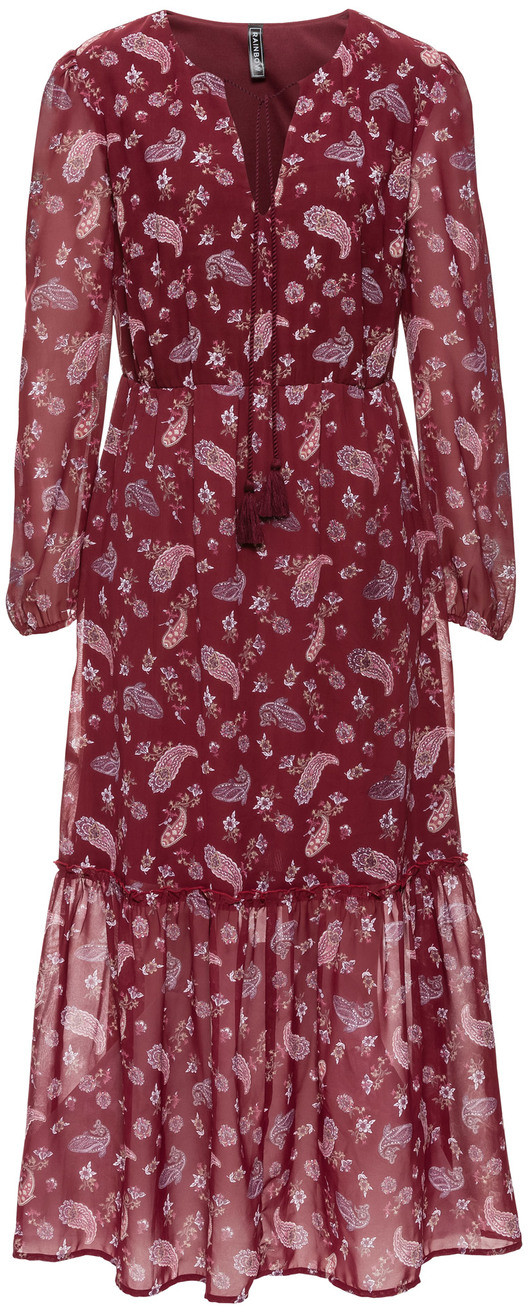 Bonprix Długa sukienka boho czerwony klonowy z nadrukiem