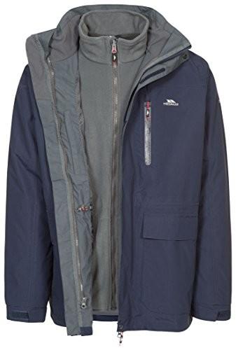 Trespass edgewater II wodoszczelność 3-W-1 kurtka kurtka przeciwdeszczowa/funkcja/warunki atmosferyczne kurtka z kapturem, wyjmowana kurtka wewnętrzna z polaru dla mężczyzn,, niebieski, s MAJK3IM20002_NA1S