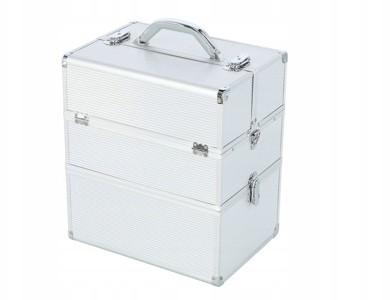 Kuferek Kosmetyczny 2-POZIOMY NS06 Srebrny Prążki