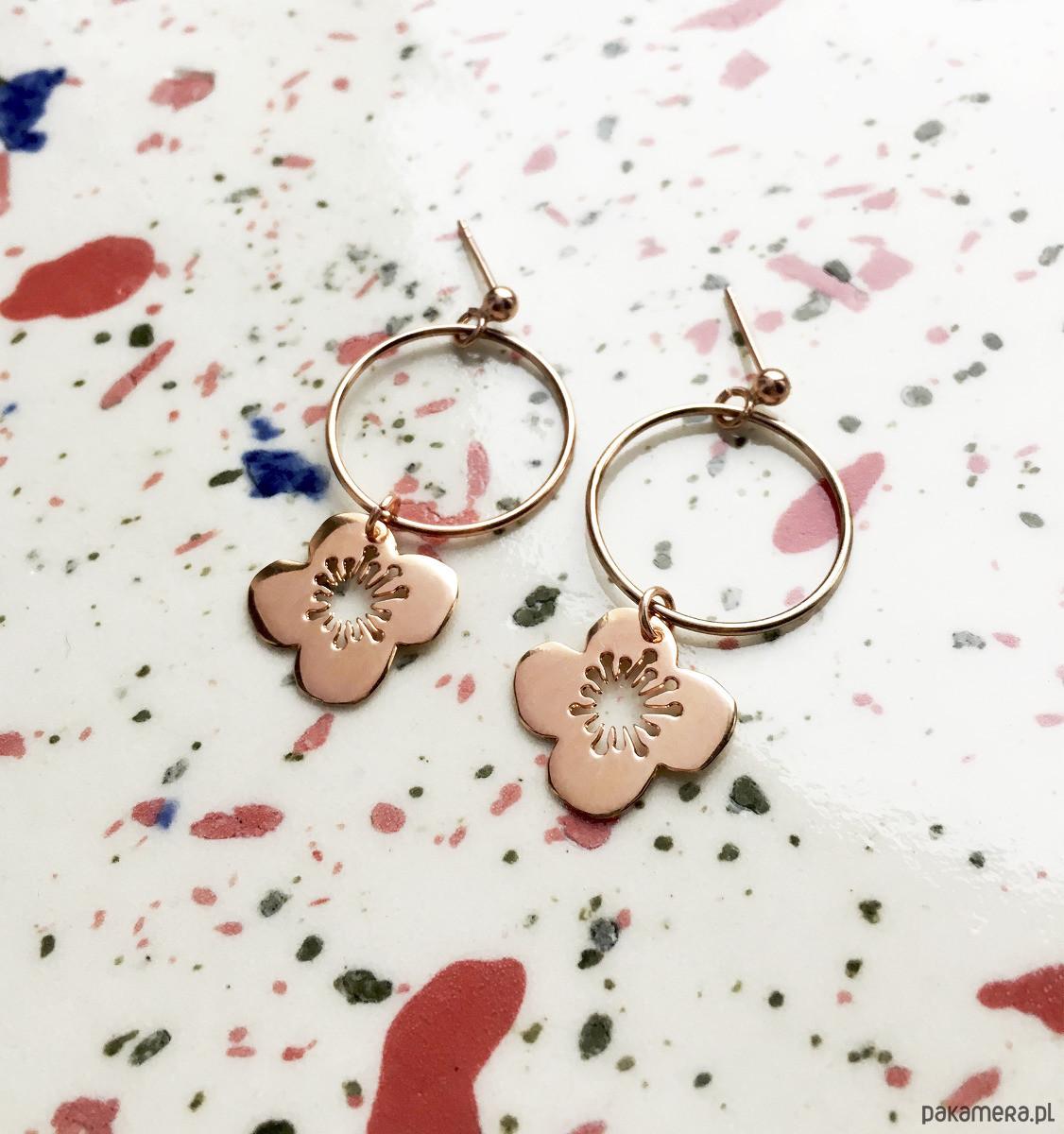 Kolczyki- Anemony- kwiaty- różowe złoto
