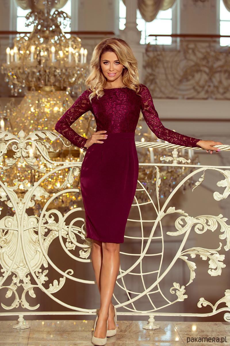 216-3 elegancka ołówkowa sukienka bordowa