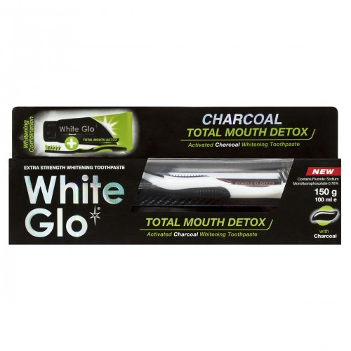 White Glo White Glo Charcoal Total Mouth Detox Pasta do zębów z aktywnym węglem 100ml + szczoteczka