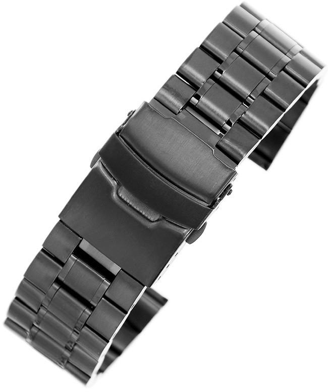 alleTime.pl Czarna stalowa bransoleta do zegarka SB2002- 20 mm