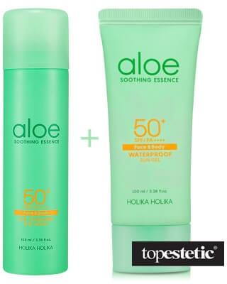 Holika Aloe Ice Cooling Sun Spray SPF50 ++++ & Aloe Waterproof Sun Gel ZESTAW Spray przeciwsłoneczny 100 ml + Żel przeciwsłoneczny z aloesem i wysokim filtrem 100 ml
