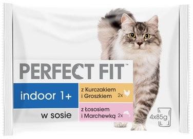 Perfect Fit Indoor saszetka 4x85g mokra karma dla kotów w sosie z kurczakiem i groszkiem z łososiem i marchewką)