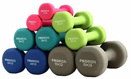 PROIRON Hantl do ćwiczeń w różnych kolorach (2 x 2kg) (PRKNED02K)