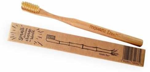 Mohani Bambusowa szczoteczka do zębów Mohani - średnia naturalna