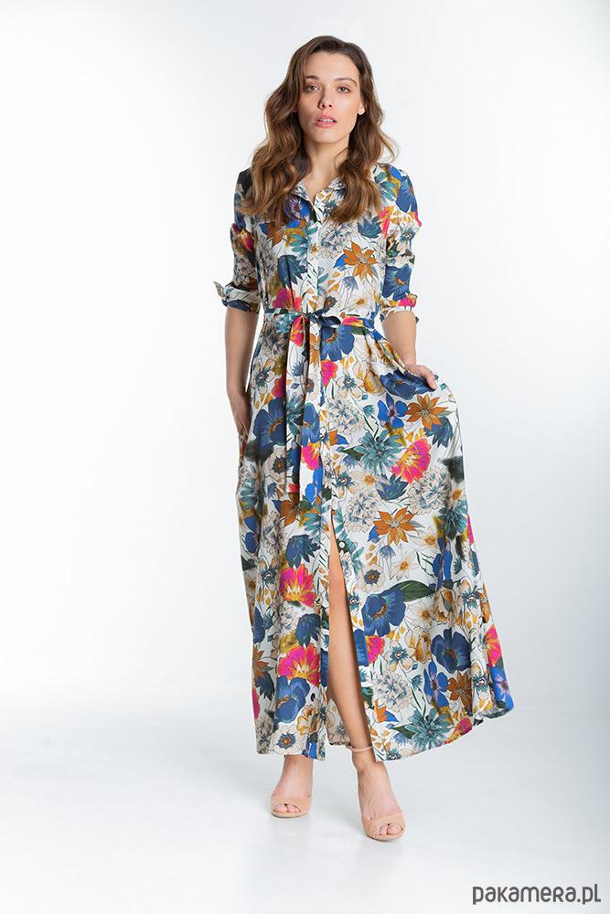 Marbella Jasna Długa Sukienka w Kwiaty