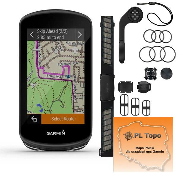 Garmin Edge 1030 Plus HR/Cad Bundle z mapą Pl Topo