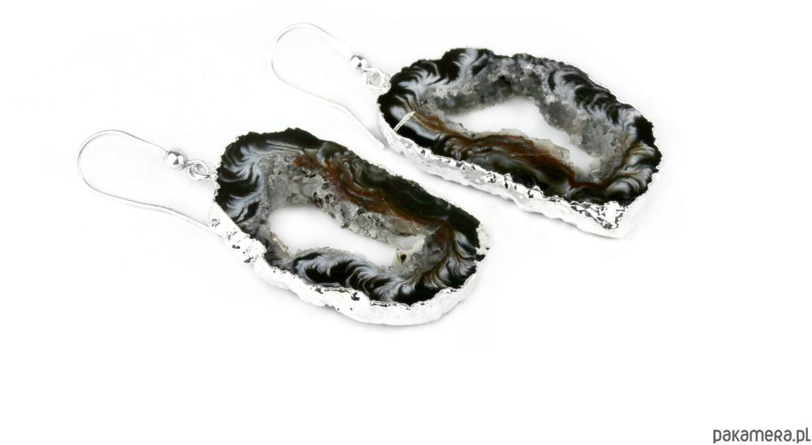 Earrings Plastry Geody Agatu Srebro