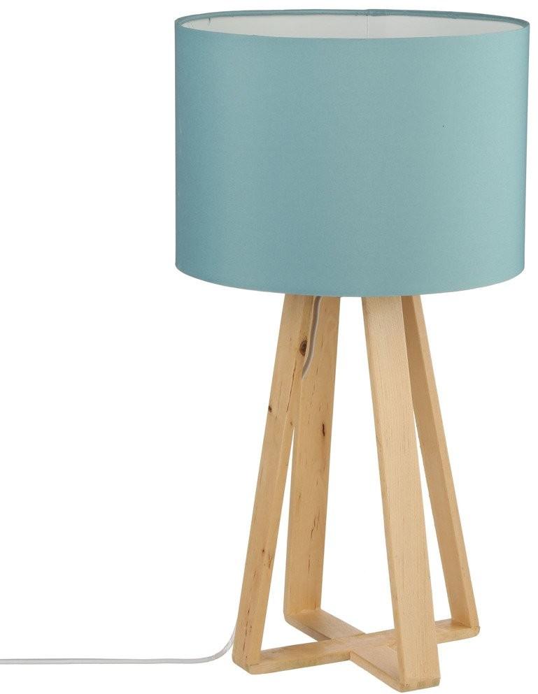 Atmosphera Lampa nocna stojąca drewniana z niebieskim abażurem B00KFIG074