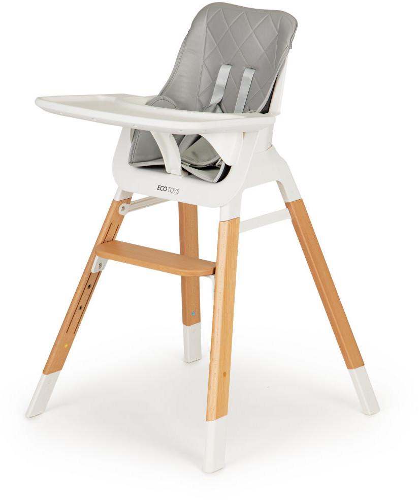 Ecotoys krzesełko fotelik do karmienia dzieci drewniane nogi