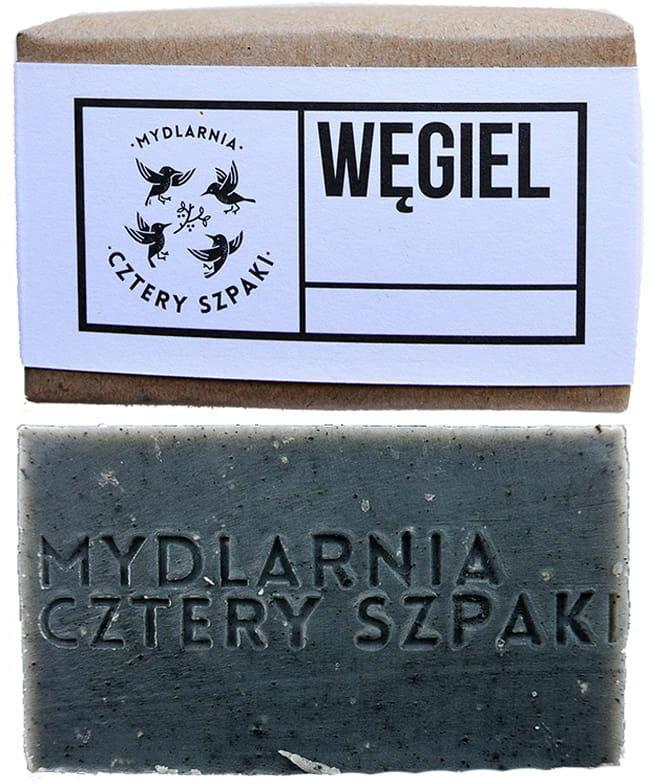 Cztery szpaki CZTERY SZPAKI Detoksykujące Mydło Węglowe  Cera Trudna, Trądzikowa, Łojotokowa, 110 g BB5C-761CF