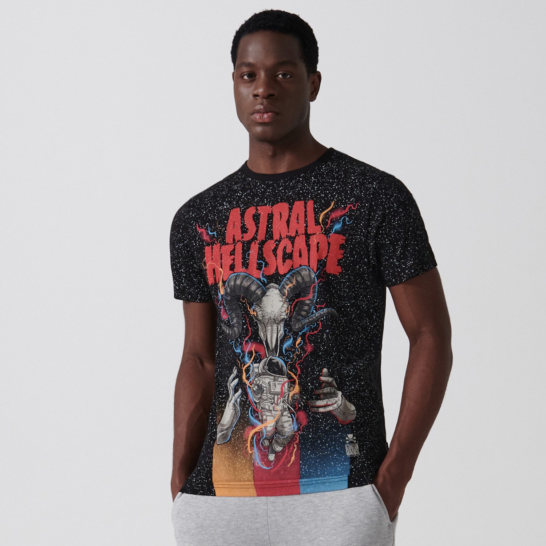 Cropp Cropp - Koszulka z nadrukiem - Czarny