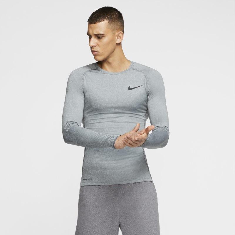 Nike Męska koszulka z długim rękawem i o przylegającym kroju Pro - Szary