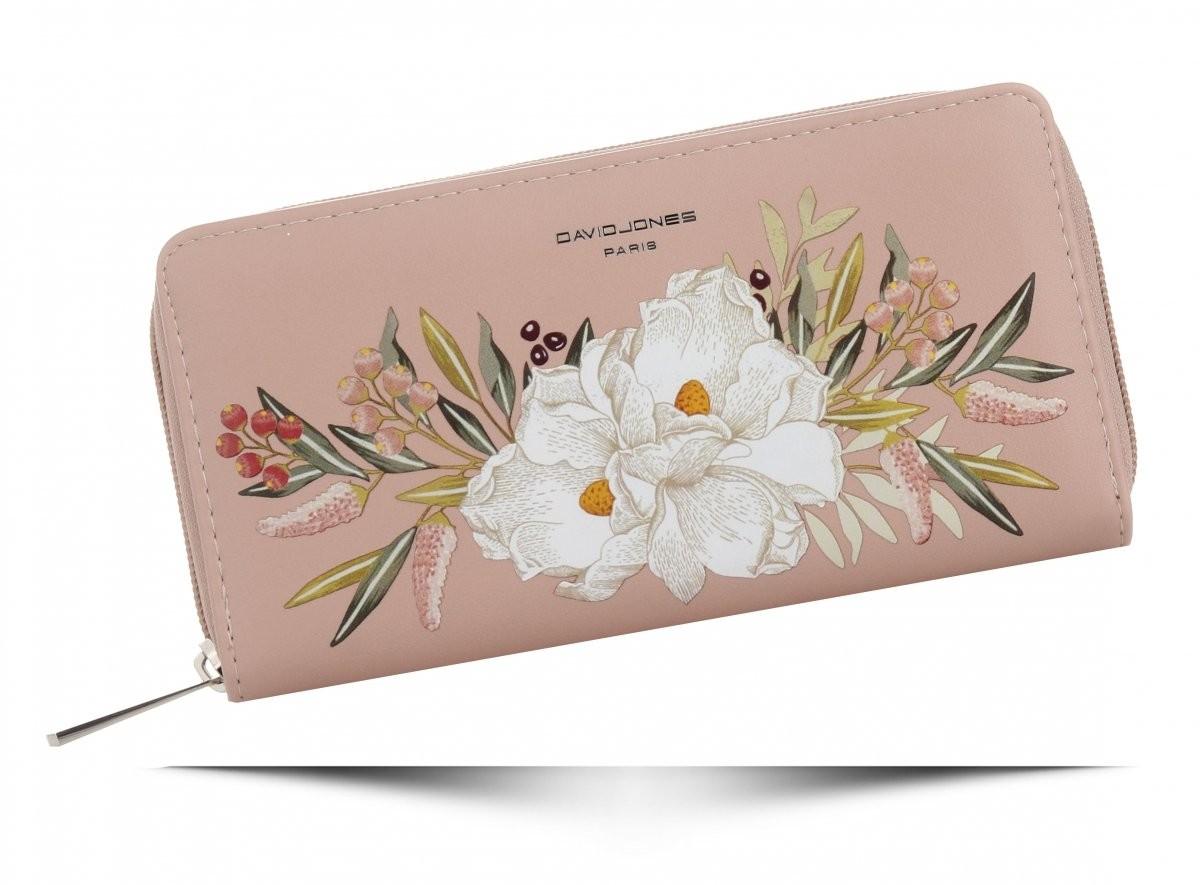 87689bfae5984 David Jones Modne Portfele Damskie XL motyw kwiatów renomowanej marki  Pudrowy Róż (kolory) P081